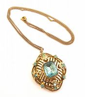 Vintage Jewelcraft Blue Rhinestone Pendant And Necklace.